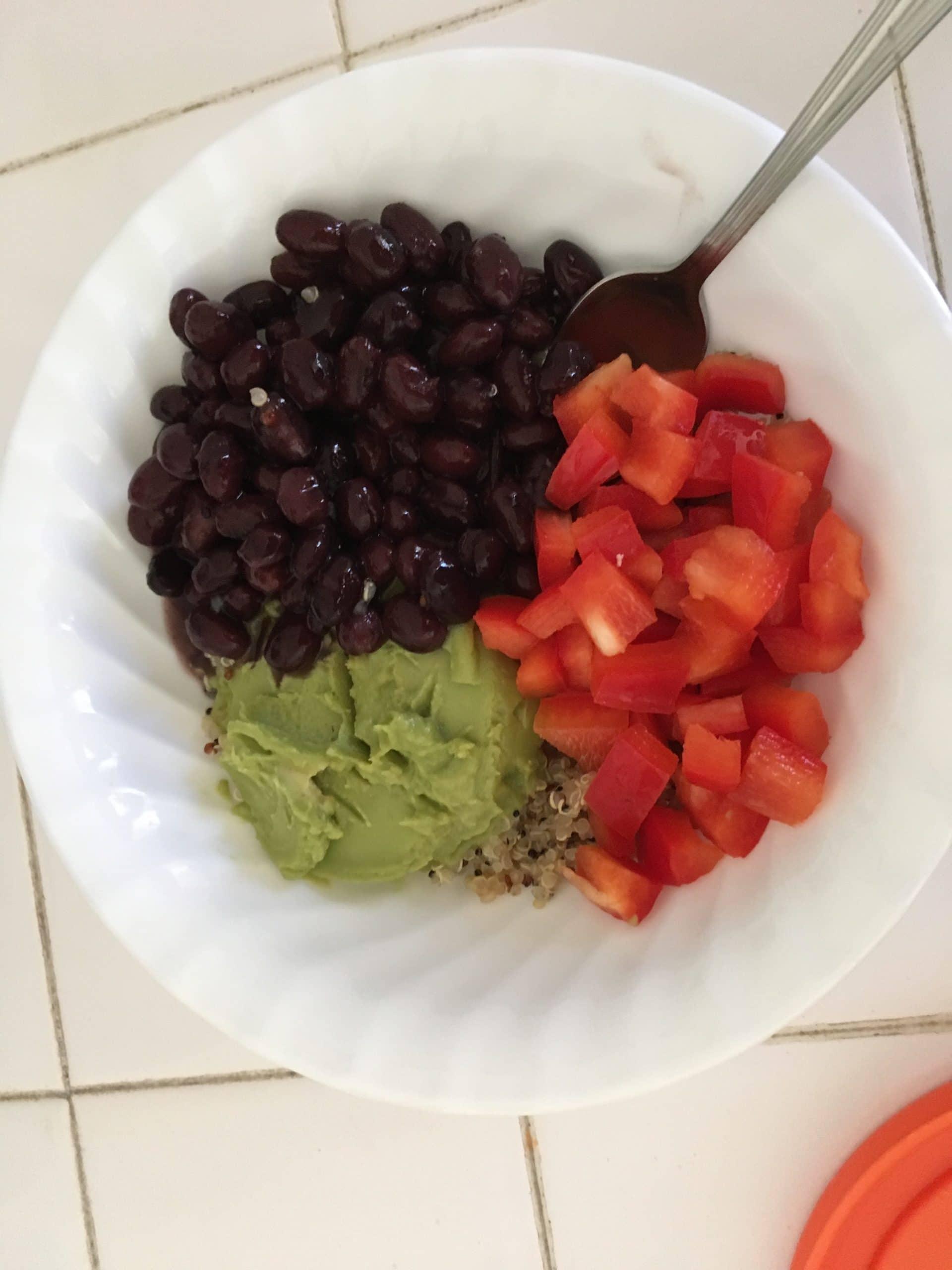 black beans, pepper